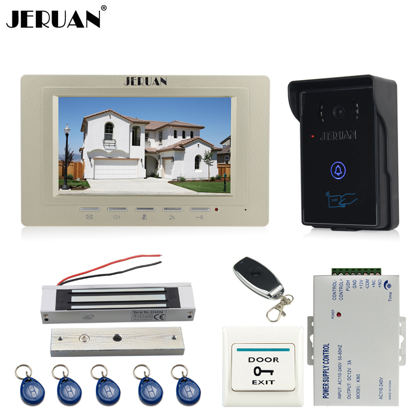 JERUAN 7`` video door phone intercom system kit 1 monitor RFID touch key waterproof Camera 180KG Magnetic lock + remote control jeruan wired 7 touch key video doorphone intercom system kit waterproof touch key password keypad camera 180kg magnetic lock