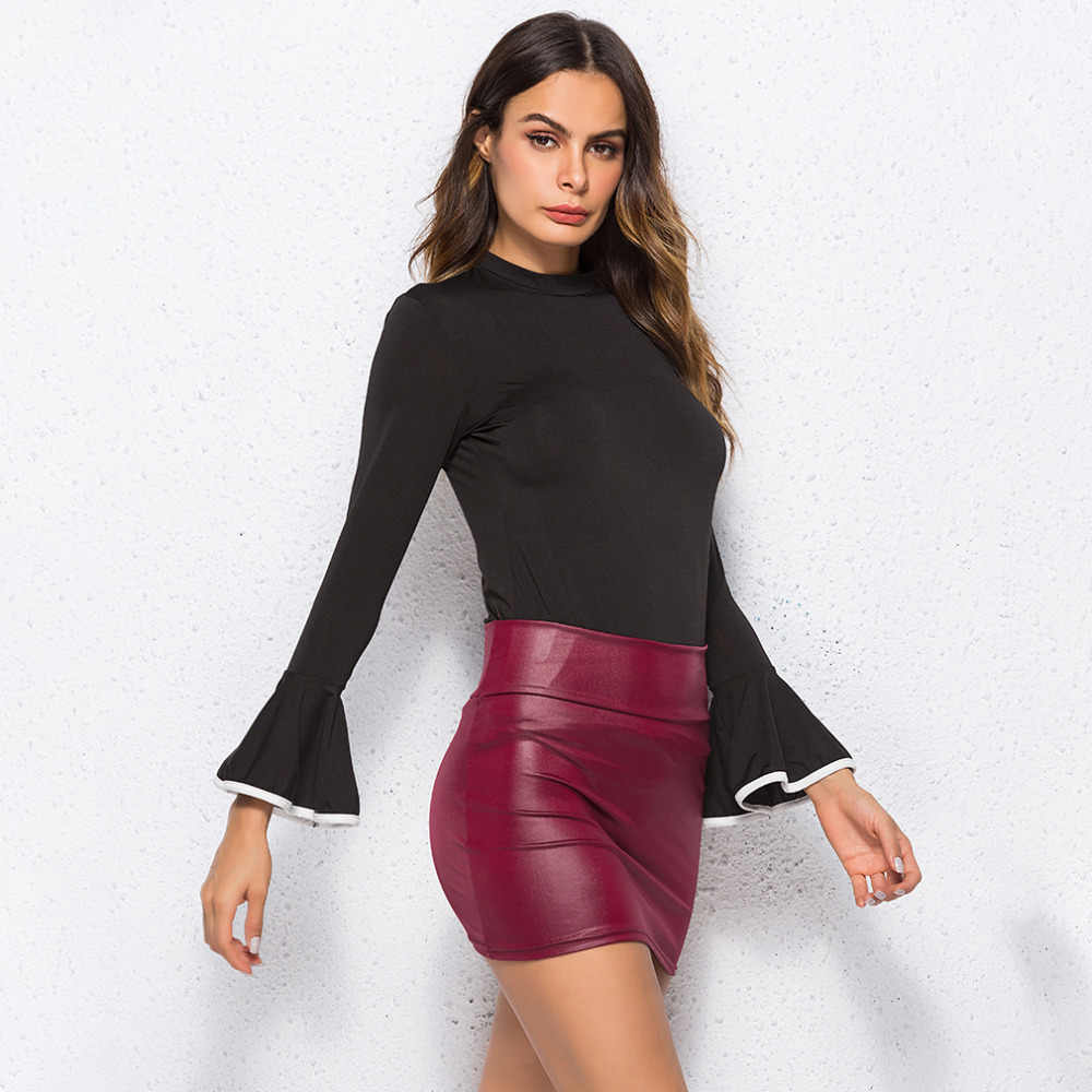 526932f14 ... Women PU Leather Skirt Red High Waist Slim Pencil Skirts Vintage  Bodycon Skirt Sexy Clubwear ...