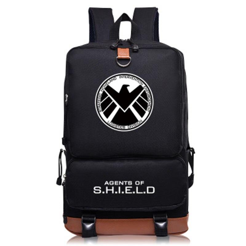 Fashion belt backpacks shield agency Luminous Backpacks for women teenagers marvel school bags Unisex Superhero bag