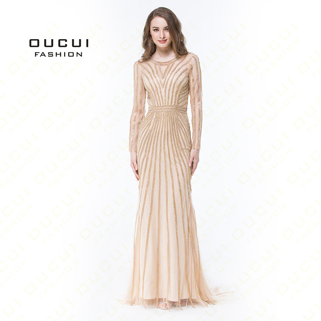 2019 Real Photo Dubai Fashion Evening Dress Tulle Crystal O Neck Formal Prom Dress Luxury Long Sleeve Robe De Soiree  OL102871B
