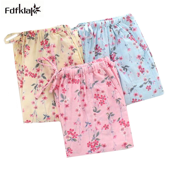 Fresh Floral Printed Cotton Sleep Pants Spring Summer Loose Home Pant Large Size Lounge Pants Pajama Bottoms Women Q472