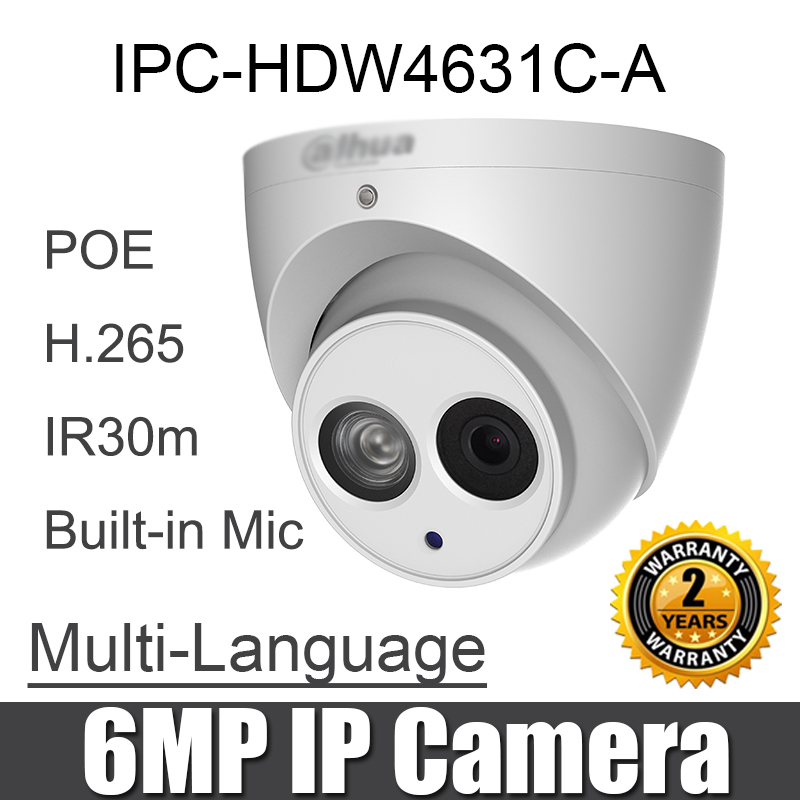 IPC HDW4631C A 6MP IP Camera POE replace IPC HDW4433C A Built in MIC Network dome