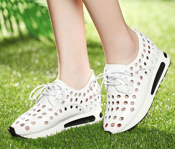 Summer Women Genuine Leather Wedges Height Increase Elevator Cut Out Lace Up Breathable Fashion Casual Shoes Size 34-39 SXQ0625 fashion women elevator candy color breathable canvas high platform denim lace up casual shoes height increasing wedges shoes