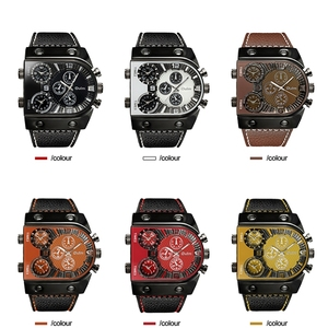 Image 5 - Oulm Watches Mens Quartz Casual Leather Strap Wristwatch Sports Multi Time Zone Military Male Clock erkek saat Dropshipping