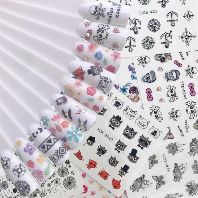 WUF 10 Styles Summer Flower Cartoon Skull Cat Image Nail Decals Art Colorful Full Wraps for Nail Sticker Water Tips