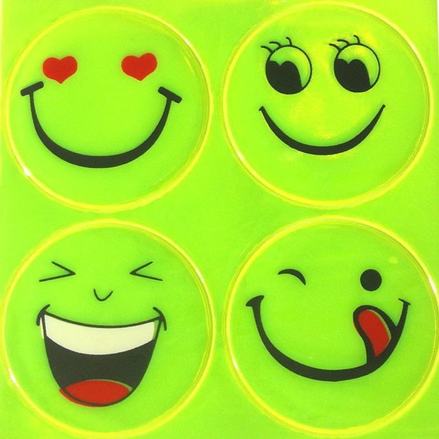 Dewtreetali New Reflective Sticker Small Smile Face For Kids School Bag Reflective Motorcycle Scooter For Visible Safety
