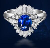 1 карат 925 стерлингового серебра Танзанит синтетический бриллиан обручальное кольцо синий ювелирное изделие в форме цветка размер США от 4,5