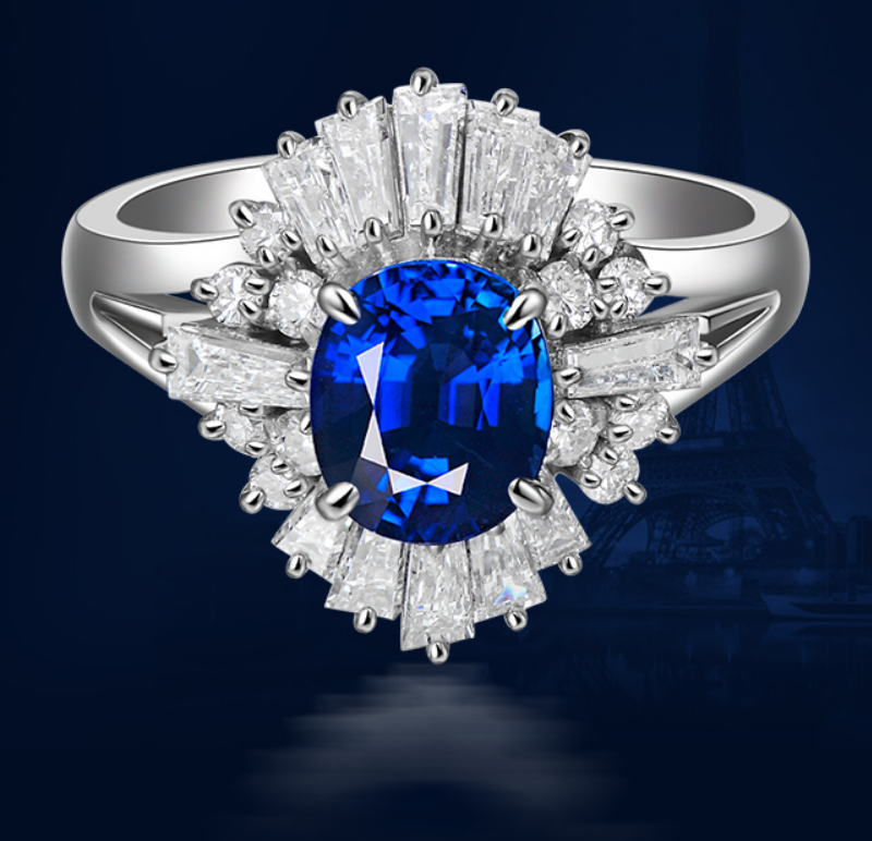1 carat 925 sterling silver tanzanite synthetic diamant wedding ring blue flower shape jewelry ring US size from 4.5 to 9 (LA)