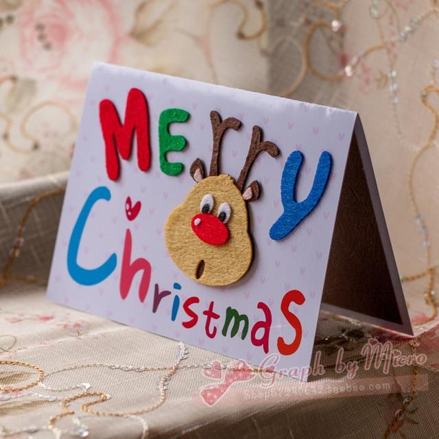 free shipping elegant christmas new year greeting card handmade card three dimensional card reindeer portraits