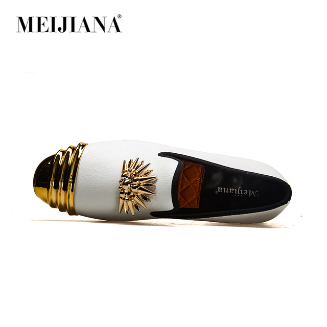 MEIJIANA Brand New Luxury Men  Loafer Patchwork Genuine Leather And Horsehair Round Toe Slip On Loafers Men Shoes 1