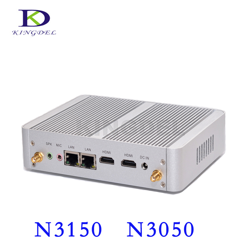 NC690 14nm Business PC Dual Core i3 6006U i3 7100U Fanless Mini PC Quad Core N3150 Intel NUC with 2*HDMI 2*LAN 4K HD Desktop PC fanless mini pc i3 6100u ddr4 desktop computer i3 5005u ddr3l celeron n3150 with dual band wifi 2 4g 5g