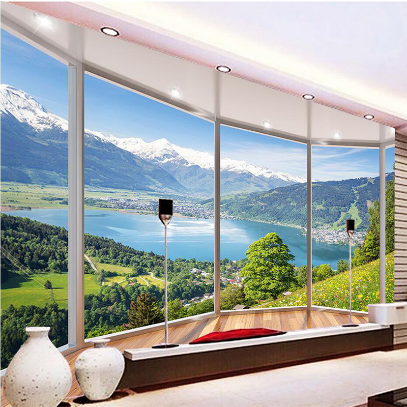 Custom 3D Mural Wallpaper Modern Creative Balcony French Window Nature Landscape Photo Wallpapers Living Room Bedroom Home Decor