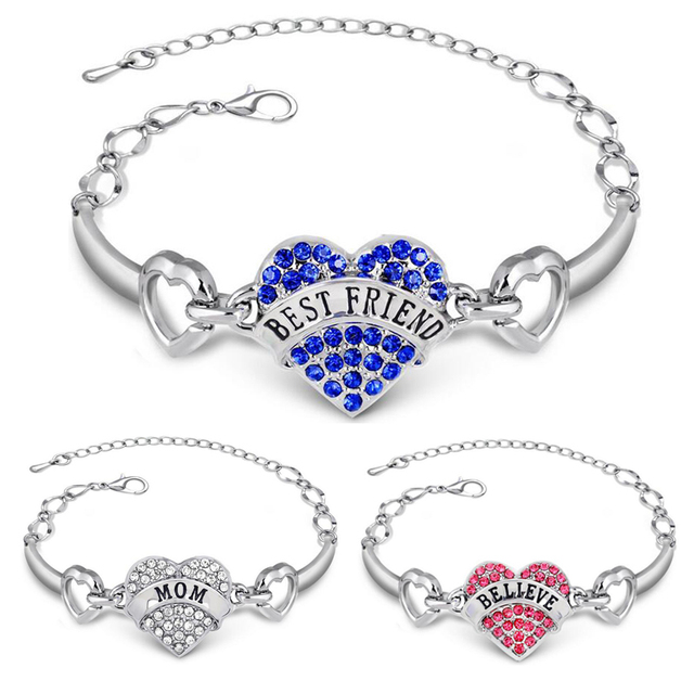 New Best Friends Bracelets Women Sister Mom Hope Letters Bracelet Silver Crystal Rhinestone Heart Charm