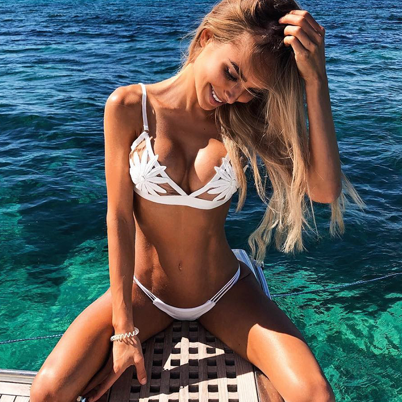 2018 New Women Sexy Solid White Bikinis Mesh See-through Swimsuit Thong Hollow Biquinis Two Pieces Swimwear Plus Size S-L Retro inc new solid white women s size 0 knitted capris cropped pants $59 056