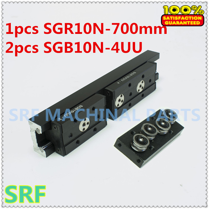 28mm width Rectangle Roller Linear Guide Rail 1pcs SGR10N Length=700mm +2pcs SGB10N-4UU four wheel slide block for CNC part high rigidity roller type wheel linear rail smooth motion belt drive guide guideway manufacturer