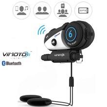 Versão inglesa bluetooth intercomunicador vimoto v6 600mah, capacete de motocicleta, headset, multifuncional, estéreo, para celulares