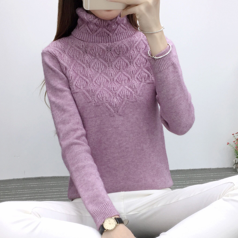 OHCLOTHING Sweaters And Pullovers For Women 2019 Autumn Winter Solid Turtleneck Knitwear Female Casual Elastic Loose Coat Femme