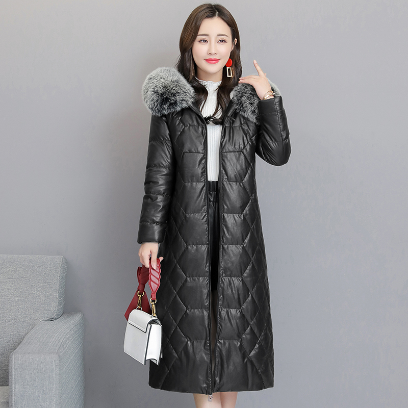 Winter high-end Women Fox fur Thick Hooded Jacket Black Slim Long Overcoat Large size 5XL Female Parkas Down cotton   Leather   Coat