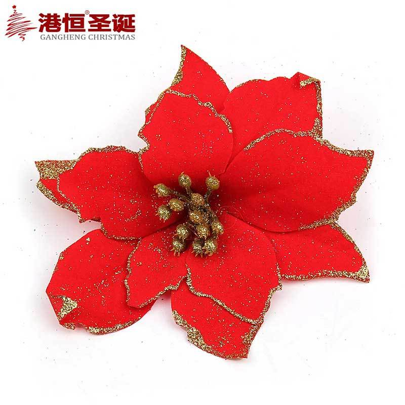 pack of 5 multicolor red glitter poinsettia christmas tree ornament christmas flower decoration merry christmas flowers 13cm in christmas from home - Poinsettia Christmas Decorations
