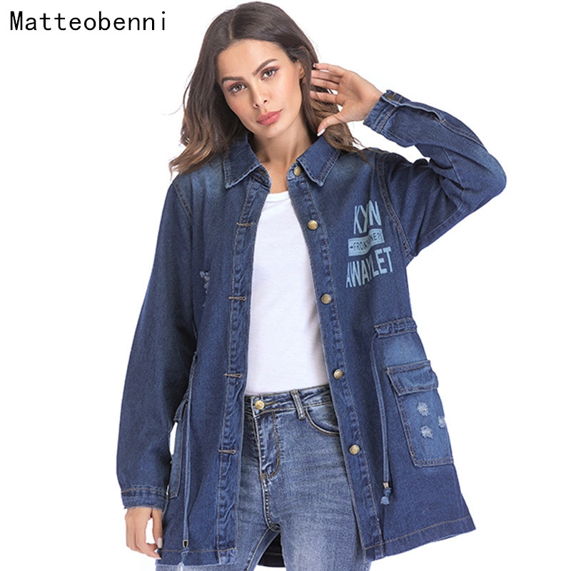 New 2018 Print Denim Jacket Women Harajuku Hole Boyfriend Style Long Sleeve Jeans jacket Loose Winter Denim Coat Jean Streetwear
