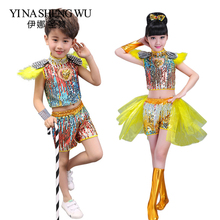 Jazz Dance Children Hip Hop Street Sequins Performance Costumes Set Girls Boy Modern Costume Clothing