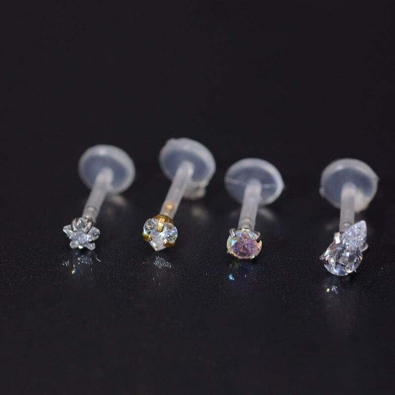 1,2mm bio plástico labret conector labios piercing Madonna piercing con cristal