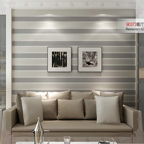 3D Wall Paper Stripe Wallpaper Striped Flocking Bedroom Or Living Room Or  TV Background Wall Beige Grey Papel De Parede Roll Col Part 14