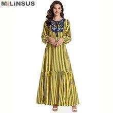 Milinsus Yellow stripes Women Long Dress embroidery O-Neck fashion maxi muslim dresses Plus Size M-4XL Casual womens clothing