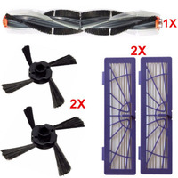 2*Side Brushes+1*Combo Brush+2*Filters for Neato Botvac Vacuum Cleaner 70e 75 80