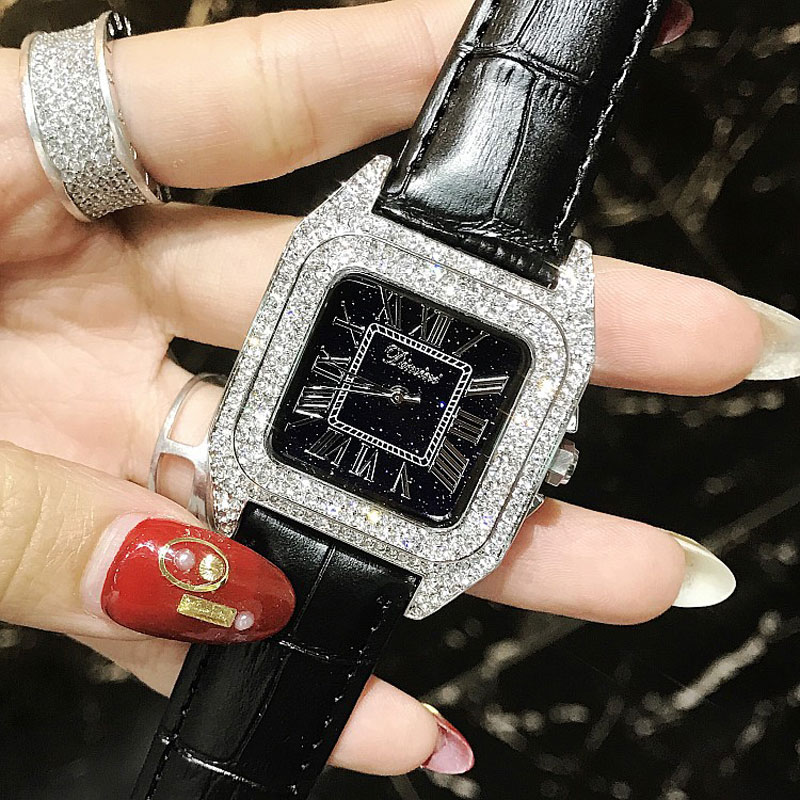 Luxury Full Diamond Women Square Watches Ladies Fashion Leather Strap Rhinestone Quartz Watch Silver Crystal Female Clock New diamond stylish watches for girls