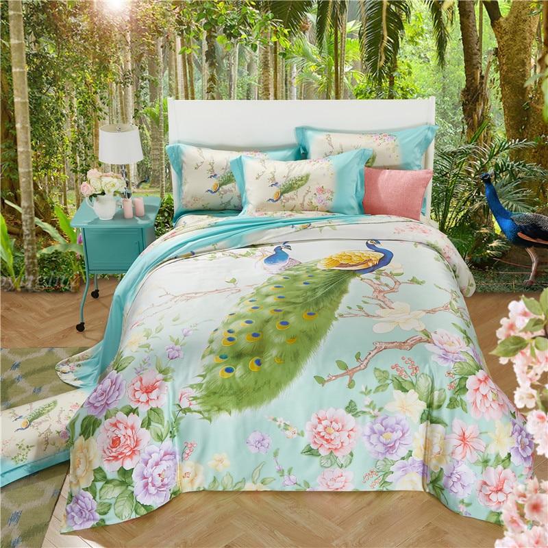 Peacock Flowers Queen King Tencel Silk 4pcs Bedding Set