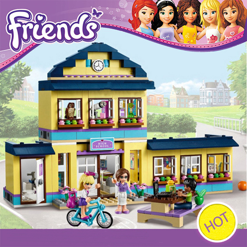 10166 Friends Heartlake City High School Building Bricks Blocks Set Kids Toys Compatible Lepine 41005 for girl 10494 city supermarket building bricks blocks set girl toy compatible lepine friends 41118