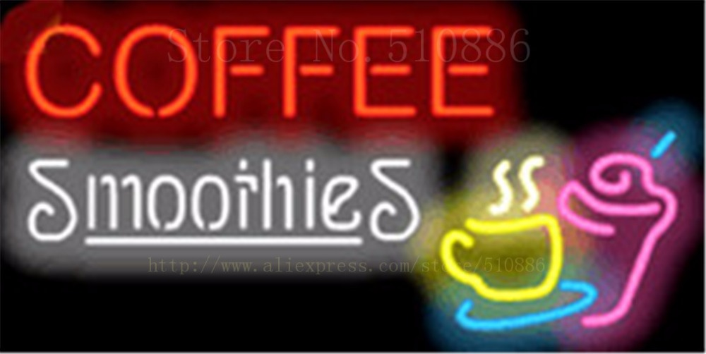 """Coffee Smoothies Neon sign Glass Tubes Light Bar Beer Club Custom Neon signs Bulbs Store Decoration Signboard signage 17""""x14"""