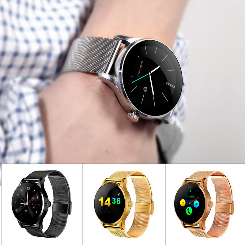 Smart Watch Heart Rate Monitor Metal Wristwatch MTK2502 Bluetooth K88H Round Screen Smartwatch Pedometer For Android IOS Phone smart wrist watch heart rate monitor wristwatch pedometer remote camera bluetooth hd screen smartwatch for ios android phone men