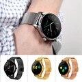 Smart watch reloj monitor de ritmo cardíaco de metal mtk2502 bluetooth k88h ronda pantalla podómetro smartwatch para android ios teléfono