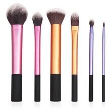 6 pçs pro pincéis de maquiagem conjunto cosméticos sombra pó fundação blush lábio pincel ferramenta pinceaux maquillage compõem ferramentas