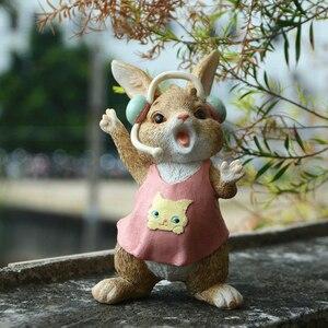 Image 4 - Codzienna kolekcja śliczna wielkanocna królik dekoracja biurka wróżka ogrodowa króliczek figurka zwierzątko home decor prezent na walentynki