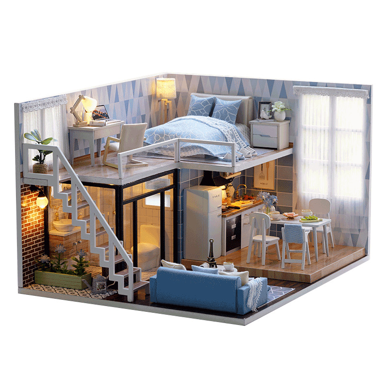DIY Doll House Wooden Doll Houses Miniature dollhouse Furniture Kit With LED Lights Toys for Children Birthday Gift