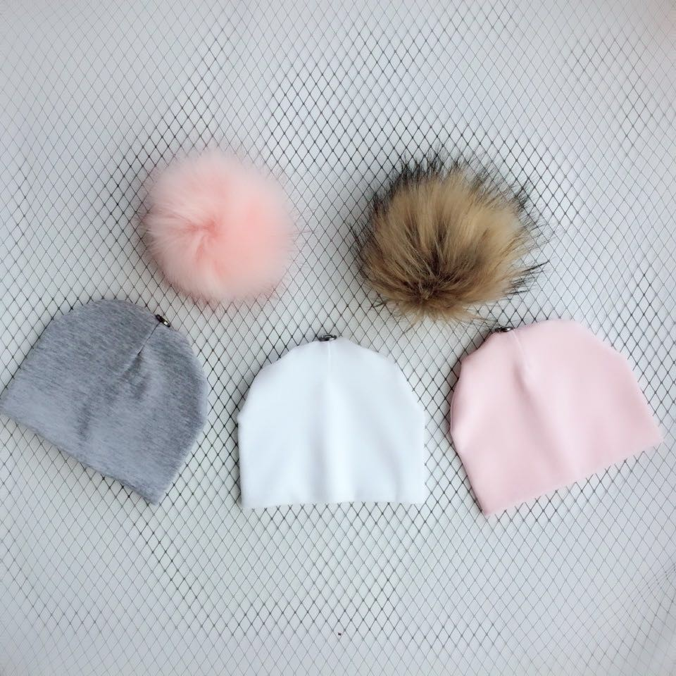 3 piece /set newborn baby children's hat with faux fur pom pom photograph props stuff for boys and girls born set kids toddler flower decorated kids headband with pom pom