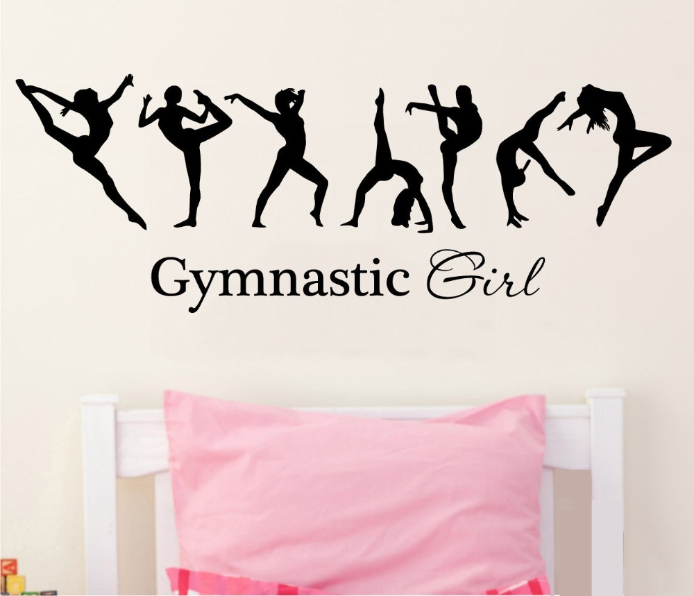 Removable Vinyl Wall Decal Sticker Gymnastics Girl Sign Ballet Dancer Dacing wall decal home mural KW-336