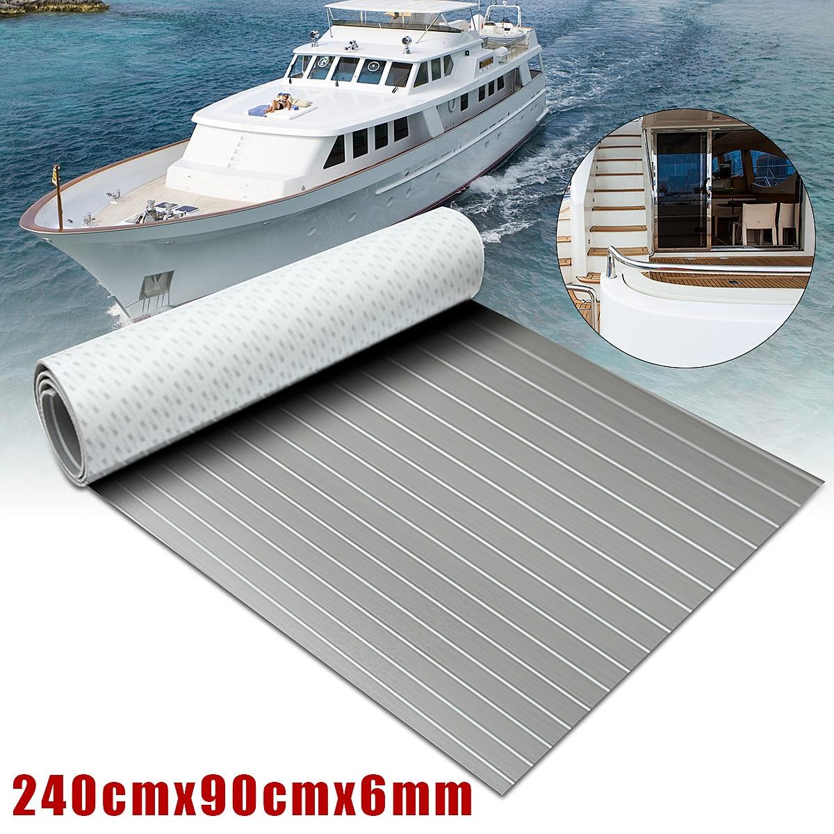 1 pz 2400x900x6mm Auto-Adesivo In Schiuma EVA Copriletto Grigio Con Bianco Linea Marine Pavimenti In faux Teak Barca Decking Pad