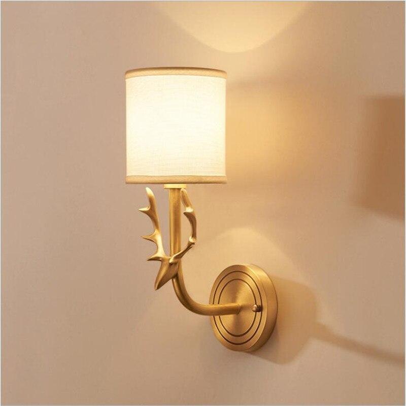 ヨーロッパアメリカ農村ゴールデン鹿led e14壁ランプ用リビングルーム寝室通路入り口h 38センチ80 265ボルト1549 -