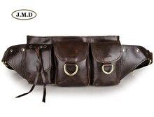 J.M.D Genuine Cow Leather Male Fashion Brown Portable Bag Cowhide Mens Waist Purse New Unisex 3014Q