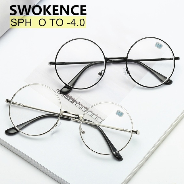 SWOKENCE Diopter -1 to -4.0 Finished Myopia Glasses Women Men Alloy Round Frame Nearsighted Reading Glasses Spectacles F178