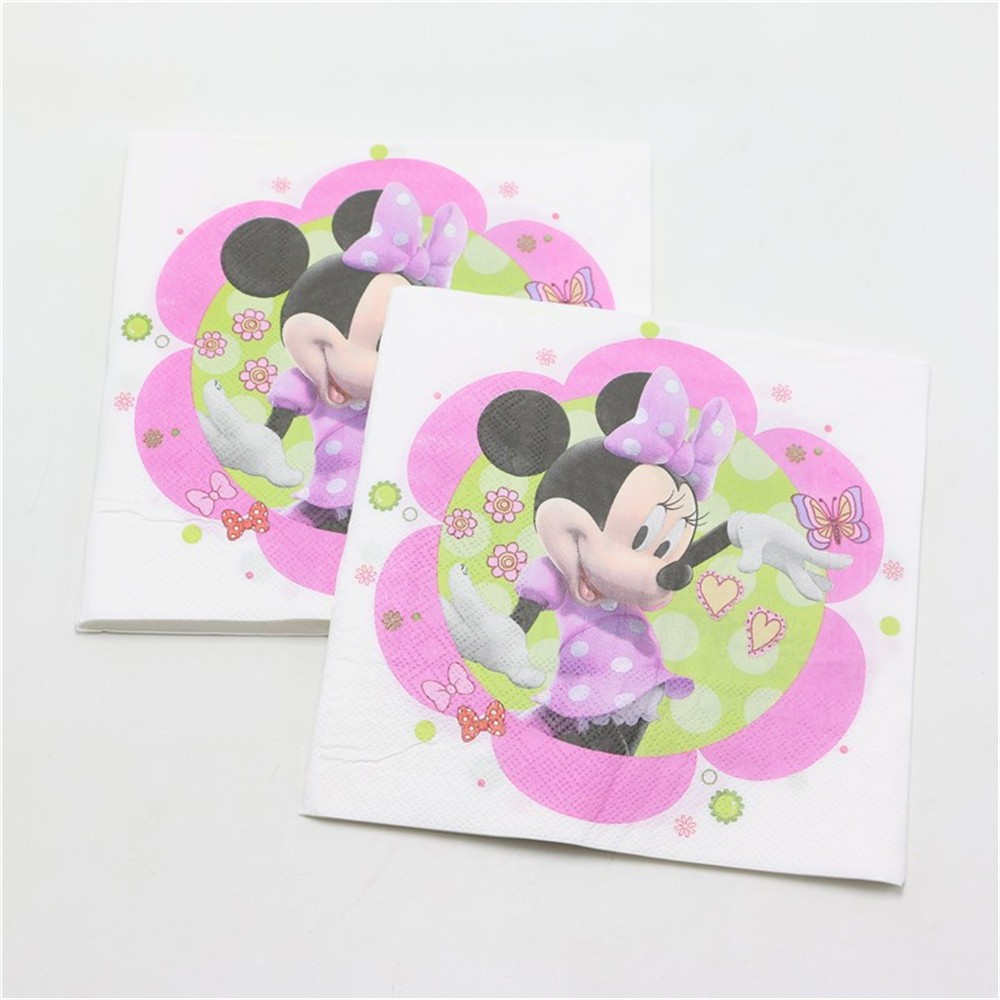20PCS/set Wholesale minnie mouse Theme Napkin Party decorations Baby Happy Birthday wedding event party supplies for kids