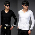 Free Shipping Men's T-shirt New Lycra Cotton Stylish V-Neck Long Sleeve Casual Men's TopT-Shirt s Black/White/Gray/Army Green