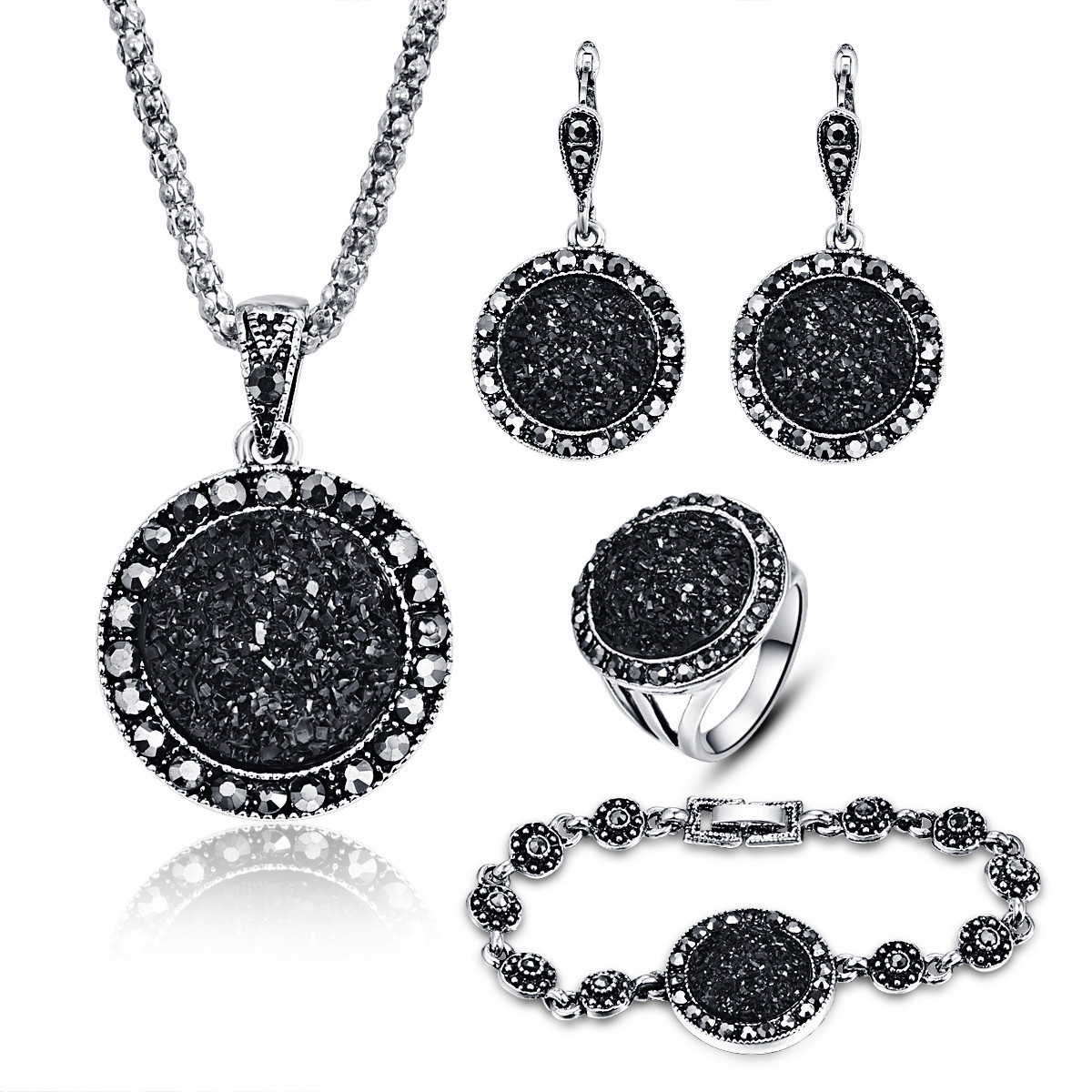 Boho Jewelry Sets Women Vintage Gothic Earrings Sets Fashion Women Jewelry Set Crystal Round Pendant Necklace Sets 4Pcs