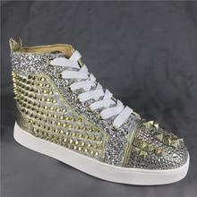f4e88a5e Los hombres es Spike de oro de la moda Zapatos de zapatillas de deporte de  alta-top de fondo rojo zapatillas de alta calidad F N..