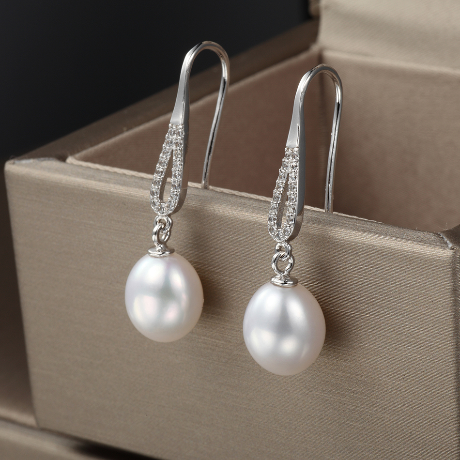 Classic Natural Pearl Drop Earrings for Women 8 9MM Freshwater Pearls Long Earring Handmade Fine Jewelry Gifts Wholesale FEIGE in Earrings from Jewelry Accessories