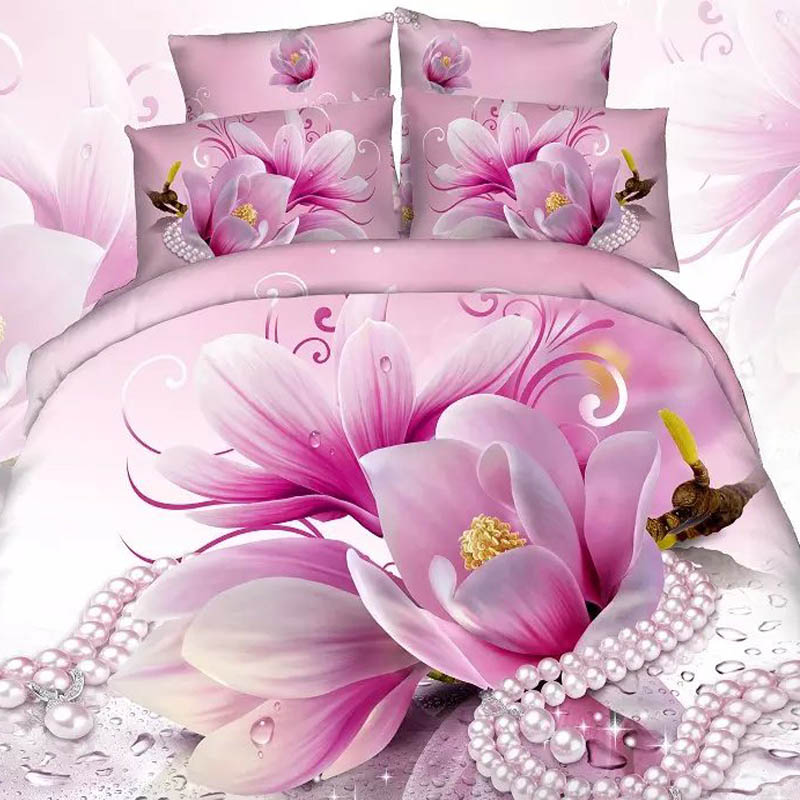 3D Cotton Blend Pink Purple Rose Pearl Bedding Set Duvet Covers Double SIZE 4PCS